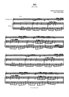 Aria. Arrangement for two performers: Trumpet in B and piano by Johann Sebastian Bach