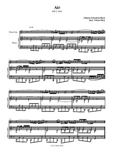 Aria. Arrangement for two performers: Tenor saxophone and piano by Johann Sebastian Bach