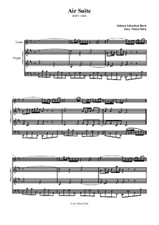 Aria. Arrangement for two performers: Violin and organ by Johann Sebastian Bach