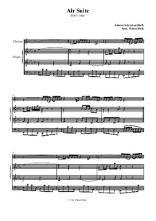 Aria. Arrangement for two performers: Clarinet and organ by Johann Sebastian Bach