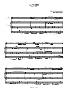 Aria. Arrangement for two performers: Alto saxophone and organ by Johann Sebastian Bach