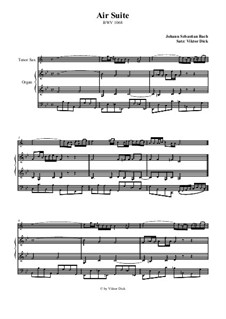 Aria. Arrangement for two performers: Tenor saxophone and organ by Johann Sebastian Bach