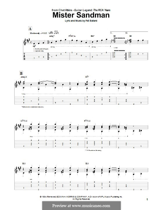 Mister Sandman (The Chordettes): Para Guitarra by Pat Ballard
