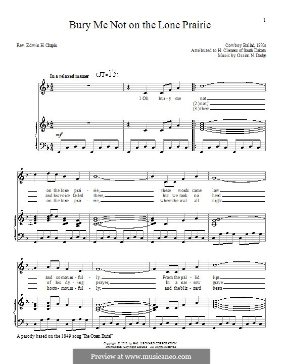 Bury Me Not on the Lone Prairie: Para vocais e piano by Ossian N. Dodge