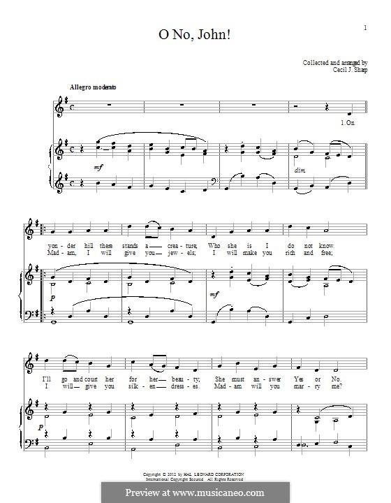 O No, John!: Para vocais e piano by folklore