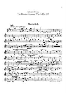 Zlatý kolovrat (The Golden Spinning Wheel), B.197 Op.109: parte clarinetas by Antonín Dvořák