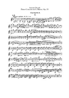 Concerto for Piano and Orchestra in G Minor, B.63 Op.33: parte clarinetas by Antonín Dvořák