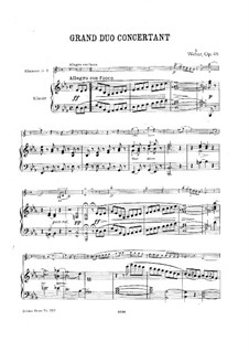 Grand Concert Duo for Clarinet and Piano, J.204 Op.48: Version for clarinet (or violin) and piano by Carl Maria von Weber