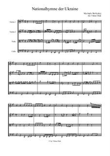 Shche Ne Vmerla Ukraina (Ukrainian National Anthem): para quartetos de cordas by Mikhail Verbytskyi