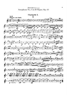 Symphony No.6 in D Major, B.112 Op.60: parte clarinetas by Antonín Dvořák