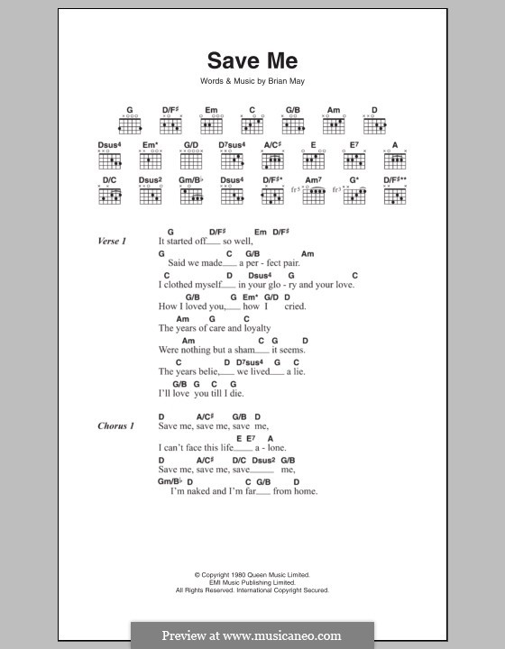Save Me (Queen): Letras e Acordes by Brian May