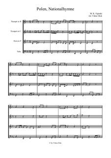 National Anthem of Poland: para quarteto de bronze by Michal Kleofas Oginski