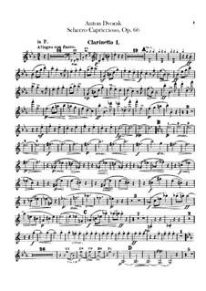 Scherzo Capriccioso, B.131 Op.66: parte clarinetas by Antonín Dvořák