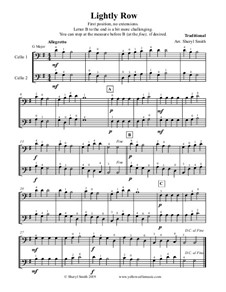 Lightly Row: For two beginner cellos (cello duo, duet) by folklore