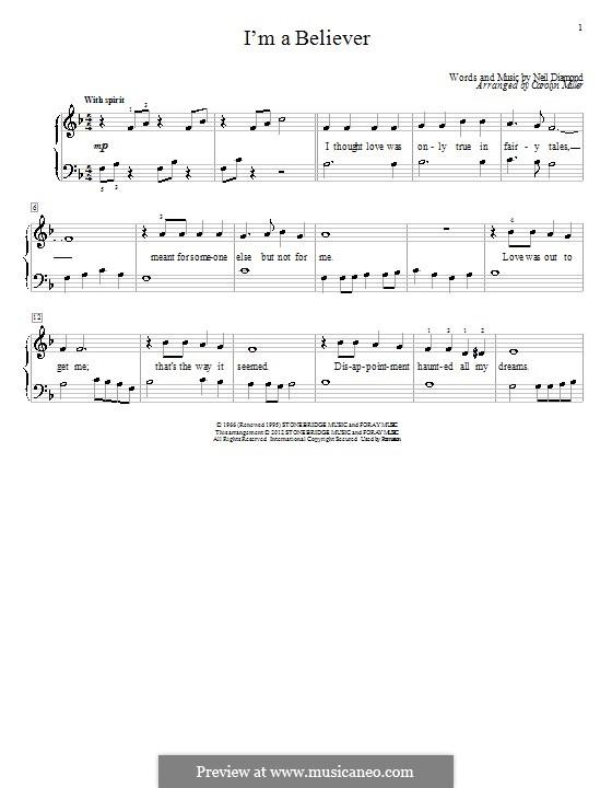 I'm a Believer: Para Piano by Neil Diamond
