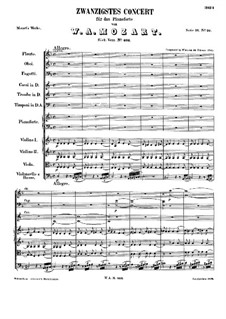 Concerto for Piano and Orchestra No.20 in D Minor, K.466: Partitura completa by Wolfgang Amadeus Mozart