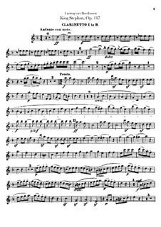 König Stephan (King Stephen), Op.117: Overture – clarinet I part by Ludwig van Beethoven