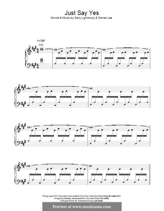 Just Say Yes: Para vocais e piano by Garret Lee, Gary Lightbody