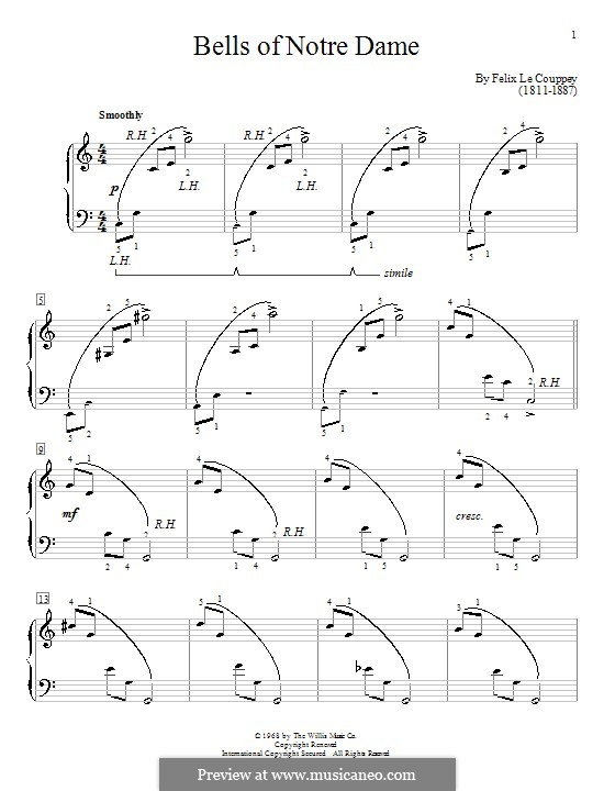 Bells of Notre Dame: Para Piano by Felix Le Couppey