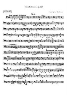 Missa Solemnis, Op.123: parte violoncelo by Ludwig van Beethoven