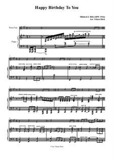 Happy Birthday to You: Para saxofone tenor e piano by Mildred Hill