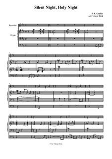Silent Night, for Two Instruments: Para gravador e órgão by Franz Xaver Gruber