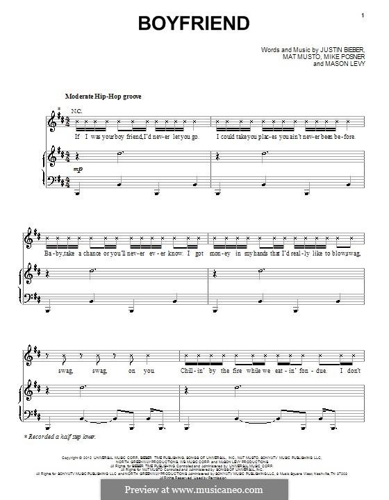 Boyfriend: Para vocais e piano (ou Guitarra) by Justin Bieber, Mason Levy, Mike Posner, Matthew Musto