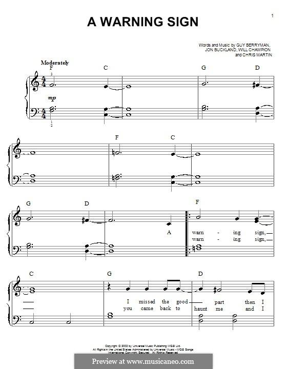 Warning Sign (Coldplay): Para Piano by Chris Martin, Guy Berryman, Jonny Buckland, Will Champion