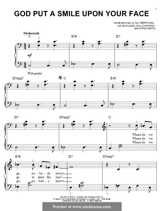God Put a Smile upon Your Face (Coldplay): Para Piano by Chris Martin, Guy Berryman, Jonny Buckland, Will Champion