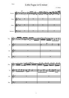 Fugue in G Minor 'Little', BWV 578: Para quarteto de sopro by Johann Sebastian Bach
