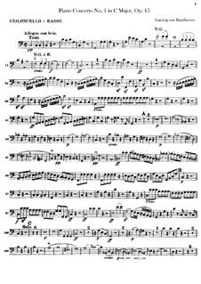 Concerto for Piano and Orchestra No.1, Op.15: parte violoncelo e contrabaixo by Ludwig van Beethoven
