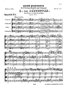 Quartet No.1 in F Major: partitura completa by Ludwig van Beethoven