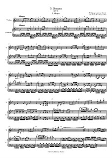 Sonata for Violin and Piano No.3 in B Flat Major, K.8: Large format score by Wolfgang Amadeus Mozart