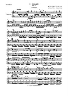 Sonata for Violin and Piano No.3 in B Flat Major, K.8: piano (ou cravo) parte by Wolfgang Amadeus Mozart