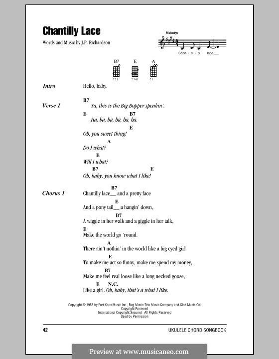 Chantilly Lace (The Big Bopper): para ukulele by J.P. Richardson