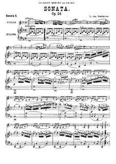 Sonata for Violin and Piano No.5 'Spring', Op.24: partitura by Ludwig van Beethoven