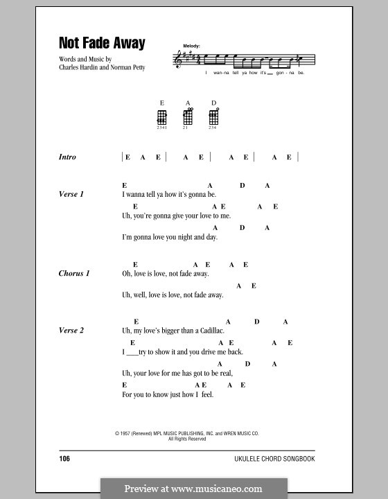 Not Fade Away (The Rolling Stones): para ukulele by Charles Hardin, Norman Petty