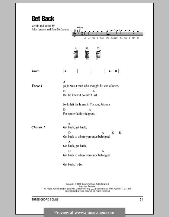 Get Back (The Beatles): para ukulele by John Lennon, Paul McCartney