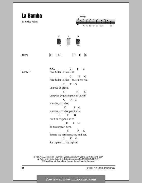 La Bamba: para ukulele by folklore, Ritchie Valens