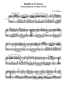 Rondo alla turca: para dedilhado by Wolfgang Amadeus Mozart