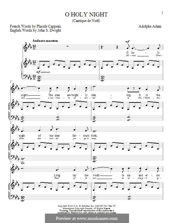 O Holy Night (Printable Scores): para voz e piano (E flat maior) by Adolphe Adam