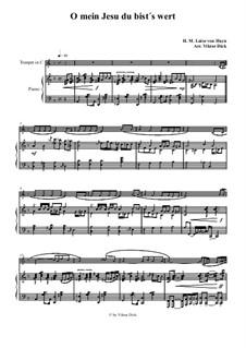 O mein Jesu du bist's wert: para trompeta em C e piano by Henriette Maria Luise von Hayn