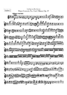 Concerto for Piano and Orchestra No.3, Op.37: violino parte I by Ludwig van Beethoven