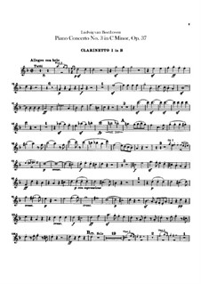 Concerto for Piano and Orchestra No.3, Op.37: clarinetas parte I-II by Ludwig van Beethoven