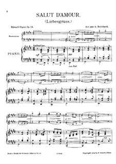 Salut d'amour (Love's Greeting), Op.12: For piano and harmonium by Edward Elgar