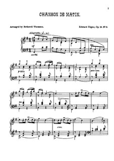 Two Pieces, Op.15: No.2 Chanson de matin, for piano by Edward Elgar