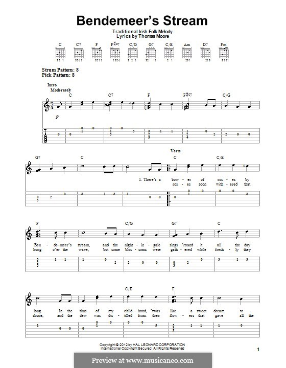 Bendemeer's Stream: Para Guitarra by folklore
