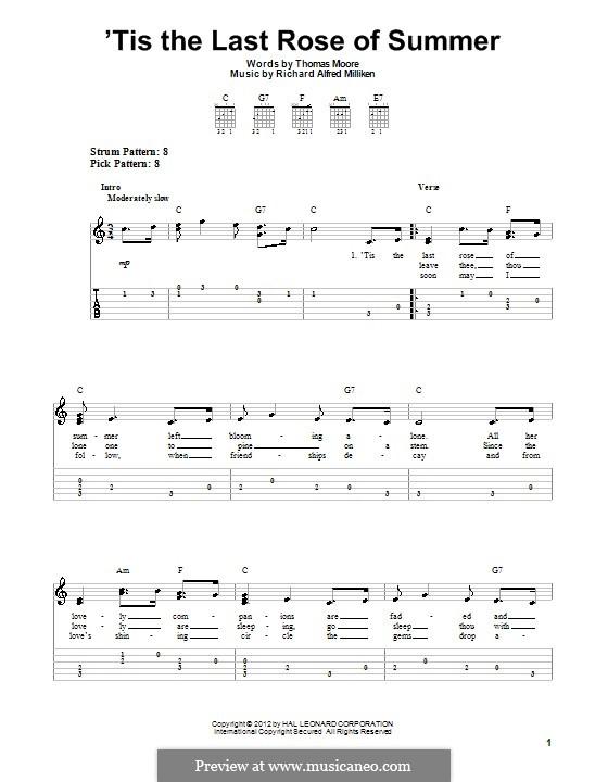 'Tis the Last Rose of Summer: Para Guitarra by Richard Alfred Milliken