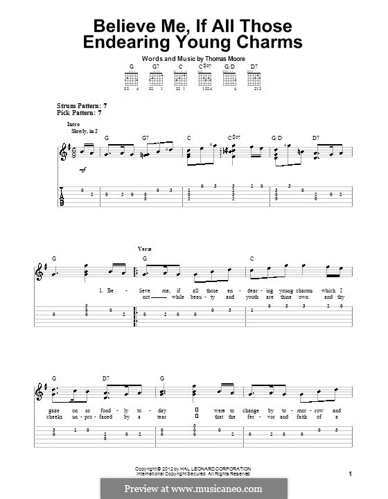 Believe Me, if All Those Endearing Young Charms: Para Guitarra by folklore