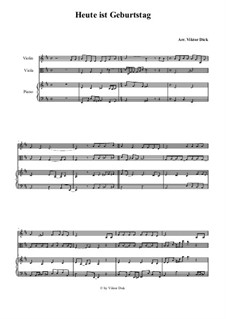 Heute ist Geburtstag darum singen wir: para violino,viola e piano by folklore